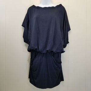 Zara Basic XS Mini Dress Blouson Blue Big Sleeves